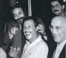 Caponetto, Giovanni Falcone et Paolo Borsellino, Ignazio De Francisci et Antonio Borsellino 85 Caponnetto célébrer la nomination de procureur de Marsala.