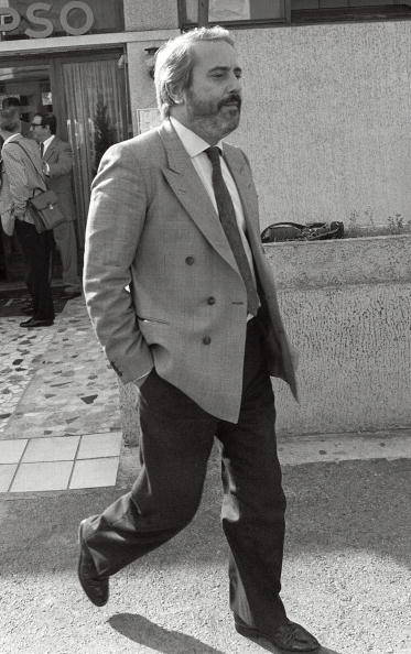 "Giovanni Falcone Marseille. MARSEILLE, FRANCE: Italian Judge Giovanni Falcone (2nd-L) arrives 21 October 1986 in Marseille to meet his French counterparts in charge to investigate the Mafia ""Pizza Connection"" criminal plot. Falcone, who won a reputation as being the Mafia's enemy number one, was killed 23 May 1992 by a half-tone bomb which exploded under his motorcade as it drove along a highway outside Palermo, Sicily. AFP PHOTO GERARD FOUET (Photo credit should read GERARD FOUET/AFP/Getty Images)"