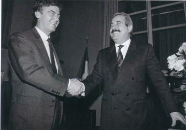Il ministro Claudio Martelli con Giovanni Falcone. Nel 1991