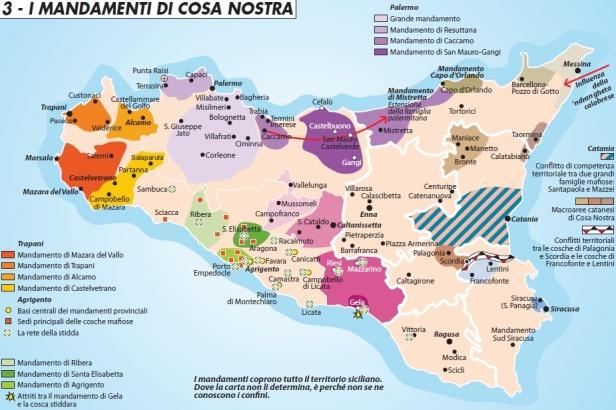 Les zones d'influence de Cosa Nostra en Sicile