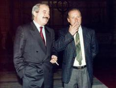 Falcone avec son ami et collègue Paolo Borsellino (Photo Ansa)