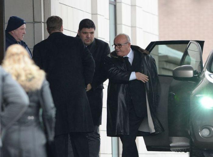 Rocco Sollecito (à droite) se rendant aux obsèques de Rizzuto.